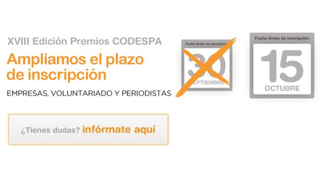 Ampliamos la convocatoria para la XVIII edición de los Premios CODESPA