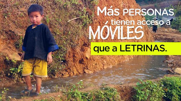 ¿Sabías que hay más personas en el mundo con acceso a un teléfono móvil que a una letrina? #díaMundialAgua