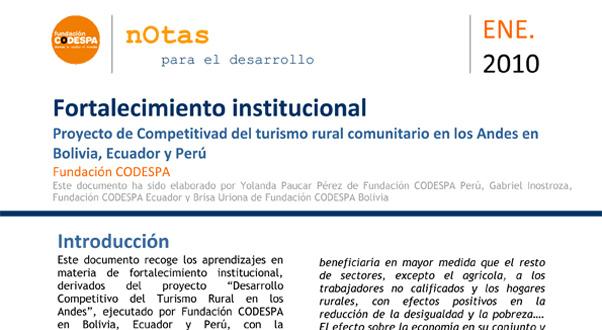 Fortalecimiento institucional. Proyecto de Competitividad del turismo rural comunitario en Los Andes en Bolivia, Ecuador y Perú