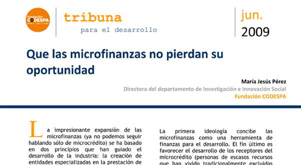 Que las microfinanzas no pierdan su oportunidad