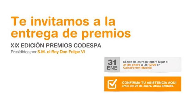 Te invitamos a la XIX Edición de los Premios CODESPA