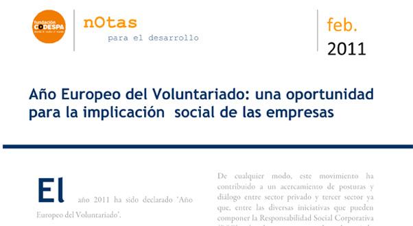 Año Europeo del Voluntariado: una oportunidad para la implicación social de las empresas