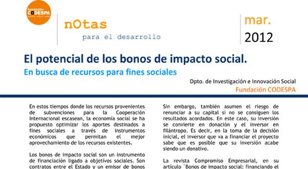 El potencial de los bonos de impacto social. En busca de recursos para fines sociales