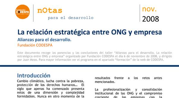 La relación estrategica entre ONG y empresa. Alianzas para el desarrollo
