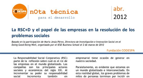 La RSC+D y el papel de las empresas en la resolución de los problemas sociales
